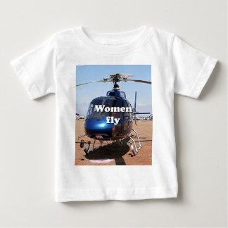 T-shirt Pour Bébé Les femmes volent : hélicoptère bleu