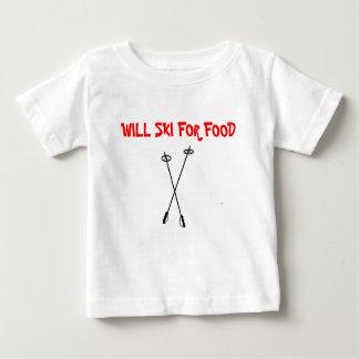T-shirt Pour Bébé les poteaux de ski, SKIERONT POUR LA NOURRITURE