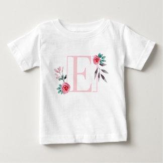 T-shirt Pour Bébé Lettre florale E - nom initial d'aquarelle de