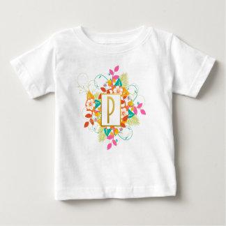 T-shirt Pour Bébé Lettre initiale P d'or avec les fleurs colorées