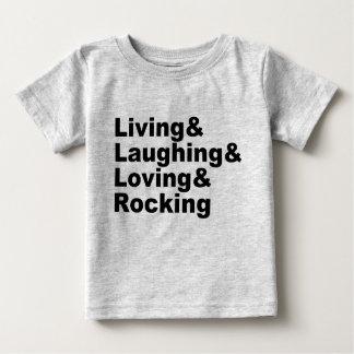 T-shirt Pour Bébé Living&Laughing&Loving&ROCKING (noir)