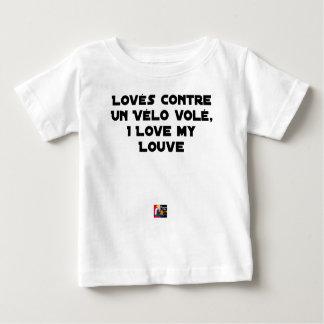 T-shirt Pour Bébé Lové contre un Vélo Volé, I Love my Louve