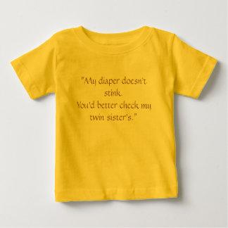 """T-shirt Pour Bébé """"Ma couche-culotte n'empeste pas. Vous devriez"""