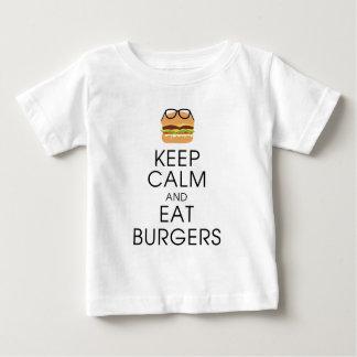 T-shirt Pour Bébé Maintenez calme et mangez les hamburgers