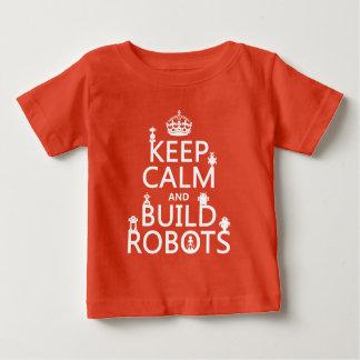 T-shirt Pour Bébé Maintenez les robots calmes et de construction