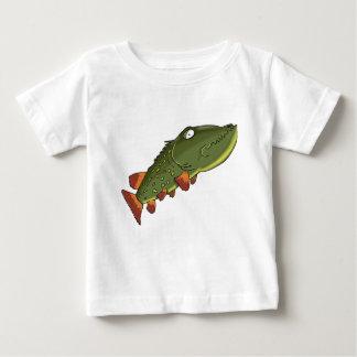 T-shirt Pour Bébé Natation de poissons de brochet de bande dessinée