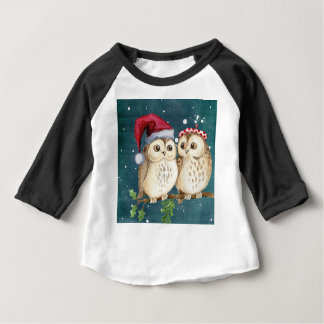 T-shirt Pour Bébé Neige d'hiver de carte d'aquarelle de hiboux de