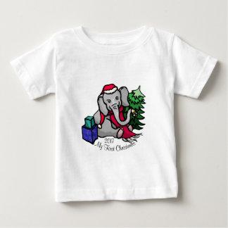 T-shirt Pour Bébé Noël mignon d'éléphant de bande dessinée de slogan