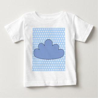 T-shirt Pour Bébé Nuage bleu sur les points de polka bleus et blancs