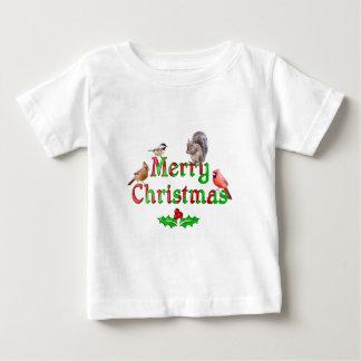 T-shirt Pour Bébé Oiseaux et écureuil de Joyeux Noël