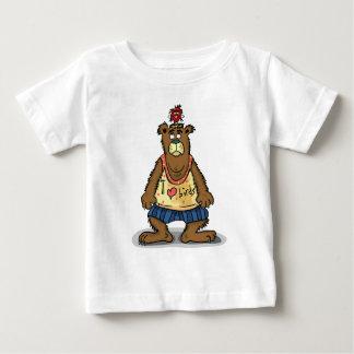 T-shirt Pour Bébé Ours de Brown de bande dessinée se tenant sur ses