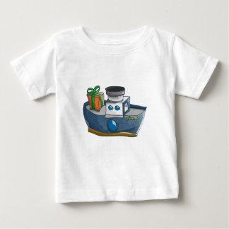 T-shirt Pour Bébé Paquebot bleu et blanc de bande dessinée de