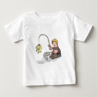 T-shirt Pour Bébé Pêche de pêcheur de bande dessinée sur la glace