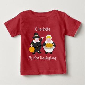T-shirt Pour Bébé Pères, citrouille et dinde de pèlerin de