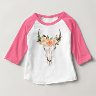 T-shirt Pour Bébé Pièce en t chic de raglan de crâne de Boho et