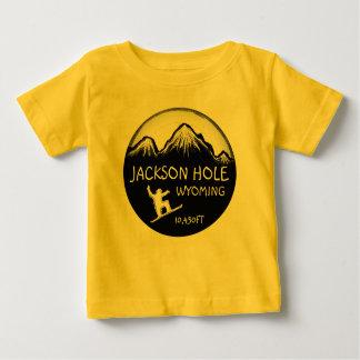T-shirt Pour Bébé Pièce en t jaune d'art de surf des neiges de bébé