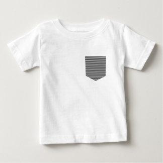 T-shirt Pour Bébé Poche - bandes - noire et blanche.