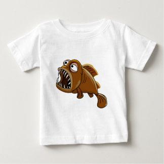T-shirt Pour Bébé poissons blancs et bruns de piranha de bande
