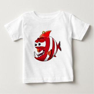 T-shirt Pour Bébé poissons blancs et rouges de piranha de bande