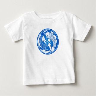 T-shirt Pour Bébé Poissons bleus et blancs de Yin Yang Koi
