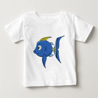 T-shirt Pour Bébé Poissons bleus et jaunes de bande dessinée drôle