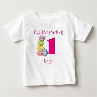 T-shirt Pour Bébé Premier anniversaire Macarons doux personnalisé