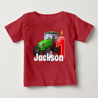 T-shirt Pour Bébé Premier anniversaire personnalisé de tracteur vert