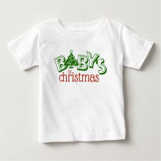 T-shirt Pour Bébé Premier art de mot de Noël du bébé espiègle mignon