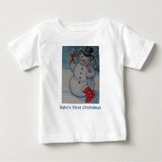 T-shirt Pour Bébé Premier bonhomme de neige de Noël du bébé