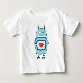T-shirt Pour Bébé Robot maladroit mignon bleu avec le bébé de coeur