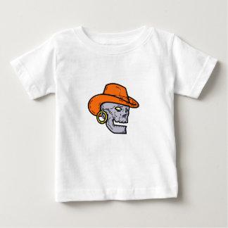 T-shirt Pour Bébé Schéma mono crâne de pirate de cowboy