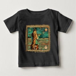 T-shirt Pour Bébé Sirène par la mer avec la lune et les étoiles