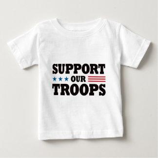 T-shirt Pour Bébé Soutenez nos troupes - noir