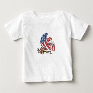 T-shirt Pour Bébé Tatouage de drapeau de bannière étoilée d'Eagle