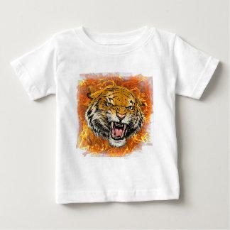 T-shirt Pour Bébé tigre en flamme