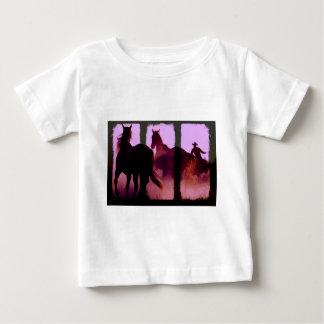 T-shirt Pour Bébé Triptyque de rassemblement de cheval sauvage