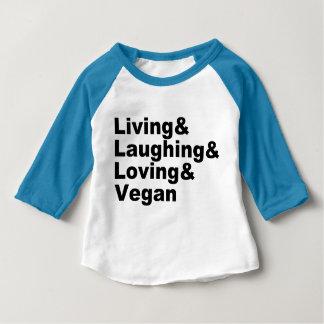 T-shirt Pour Bébé Vie et rire et aimer et végétalien (noir)