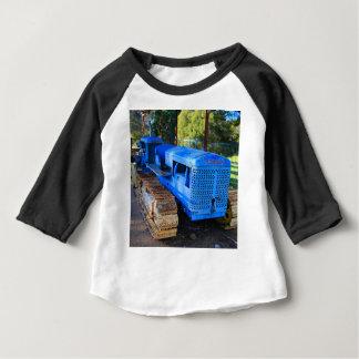 T-shirt Pour Bébé Vieux tracteur et chenille bleus