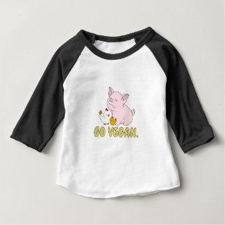 T-shirt Pour Bébé Vont le végétalien - porc et poulet mignons
