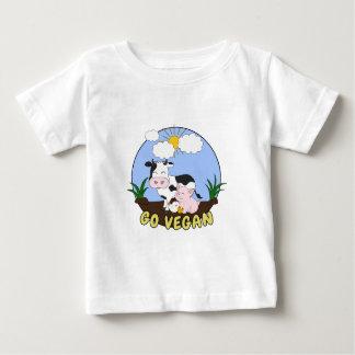 T-shirt Pour Bébé Vont le végétalien - porc, vache et poulet mignons