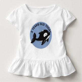 T-shirt Pour Les Tous Petits Anniversaire noir et blanc personnalisé de baleine