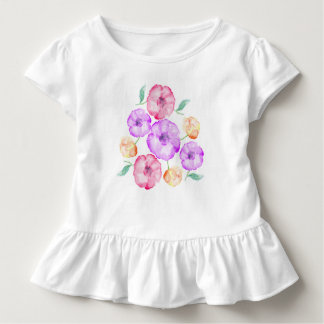T-shirt Pour Les Tous Petits Aquarelle florale pourpre d'anémone rose et orange