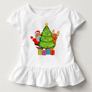 T-shirt Pour Les Tous Petits Arbre de Noël avec un père noël et Rudolph noirs,