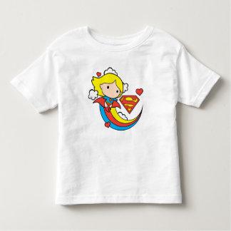 T-shirt Pour Les Tous Petits Arc-en-ciel de vol de Chibi Supergirl