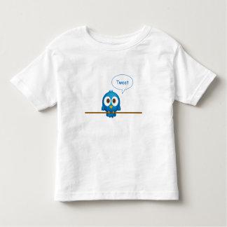 T-shirt Pour Les Tous Petits Bande dessinée bleue d'oiseau de gazouillement
