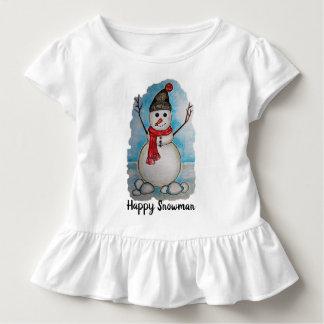 T-shirt Pour Les Tous Petits Bonhomme de neige magnifique d'aquarelle avec