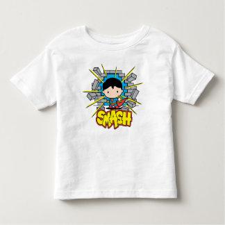 T-shirt Pour Les Tous Petits Chibi Superman heurtant par le mur de briques