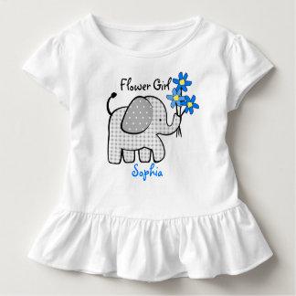 T-shirt Pour Les Tous Petits Éléphant de demoiselle de honneur avec les fleurs