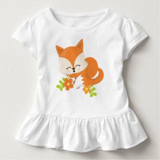 T-shirt Pour Les Tous Petits Enfant mignon de Fox d'animal de ressort de région