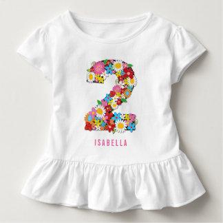 T-shirt Pour Les Tous Petits Fête d'anniversaire de fille du jardin de fleurs